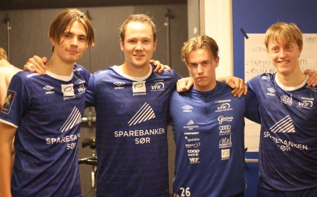 Debutantene Fabian Engedal, Daniel Berglund og Eirik Ryger pluss Follerås, som gjorde comeback etter skade